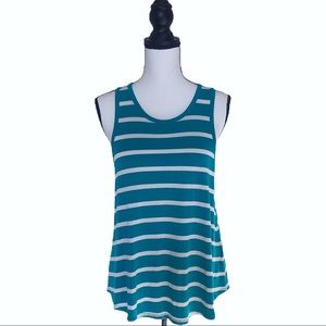 Anthro Akemi & Kin Teal/White Striped Tank Top